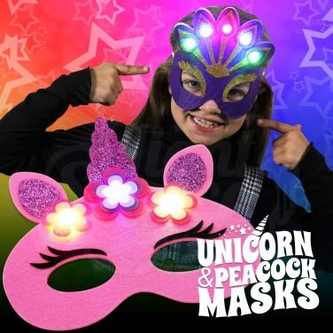 Flashing Felt Masks - Unicorn & Peacock